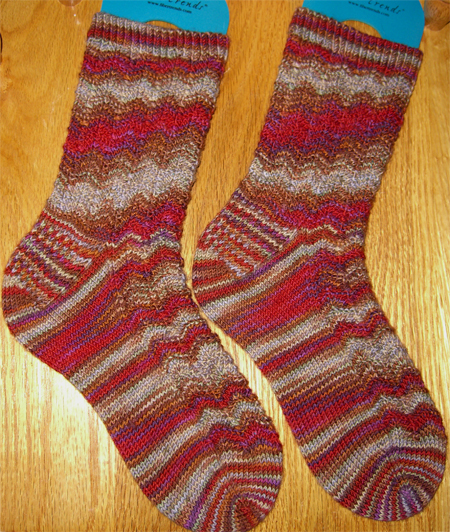 Finished Rooster Feather Socks