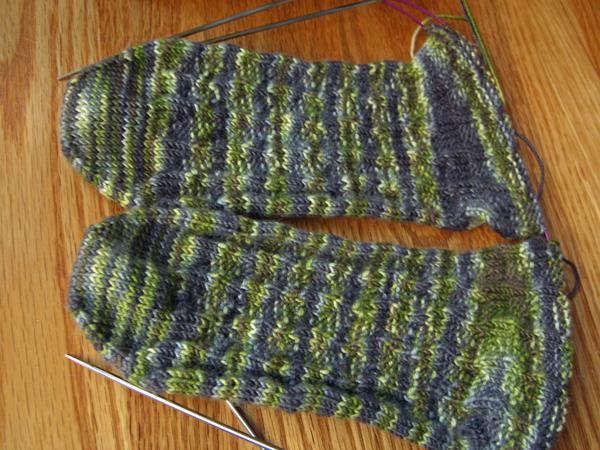 Seaweed sock progress — oops!