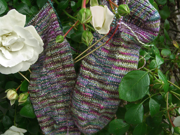 Spanish Lavender Basket Wave sock progress
