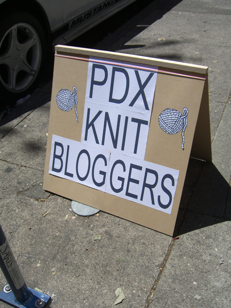"""official"" PDX Knit Bloggers sign"