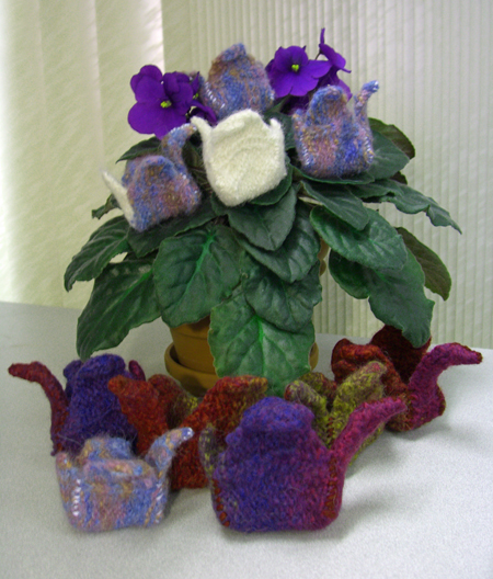 a flock of felted cranes