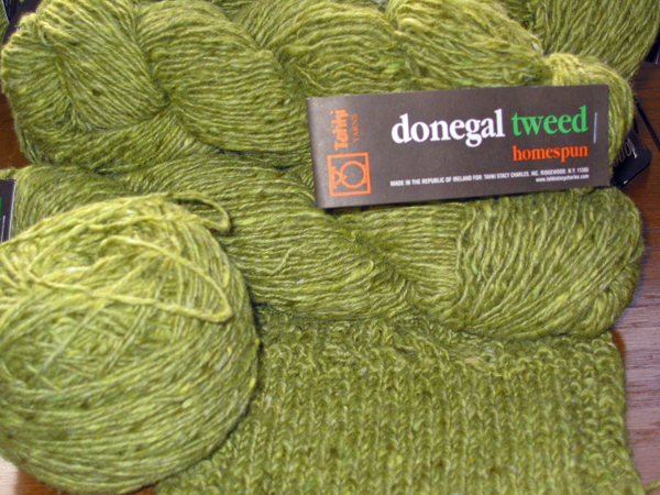 green Donegal tweed
