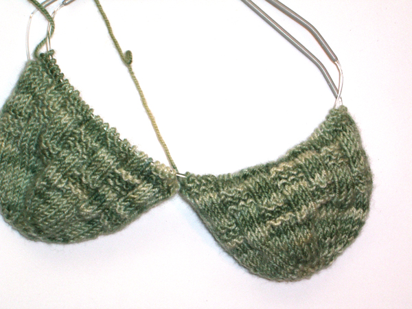 green basket-weave socks