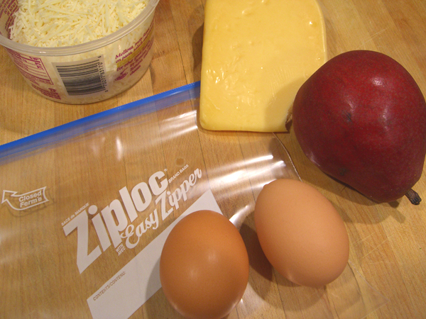 still life with eggs and Ziploc
